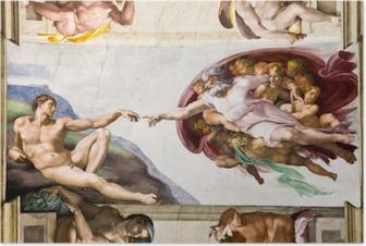Luominen adam by michelangelo, sistine kappeli, roma Juliste