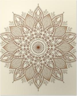 Mandala. kaunis käsin piirretty kukka. Juliste