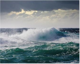 Meri aalto myrskyn aikana Juliste