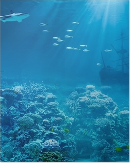 Meri tai valtameri veden alla hain ja upposi aarteita aluksella Juliste