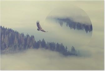 Metsä vuoren rinteessä. geometrinen heijastusvaikutus Juliste