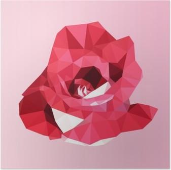 Monikulmainen punainen ruusu. poly matala geometrinen kolmio kukka vektori Juliste