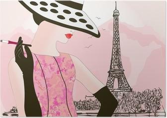 Muoti nainen pariisissa Juliste
