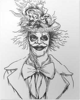 Muotokuva undead (zombie, pelottava pelle ...), käsi piirustus Juliste