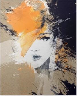 Nainen muotokuva. abstrakti vesiväri. muodin tausta Juliste