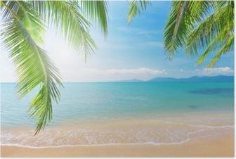 Palmu ja trooppinen ranta Juliste