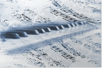 Piano piano with notas musicales Juliste