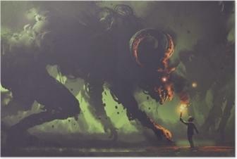 Pimeä fantasia-konsepti, jossa poika polttimon edessä savu hirviöt demonin sarvet, digitaalinen taidetyyli, kuvitus maalaus Juliste