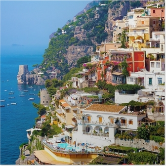 Positano, italia. amalfin rannikolla Juliste