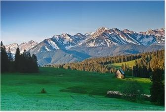 Puolan Tatra vuoret panoraama aamulla Juliste