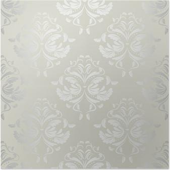 Saumaton wallpaper.damask pattern.floral background Juliste