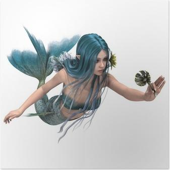 Sininen merenneito pitämällä merililja Juliste