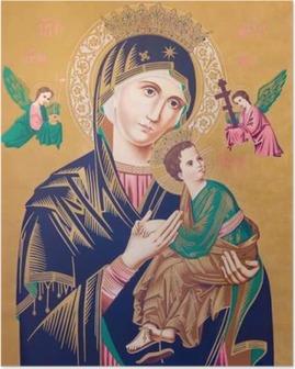 Tyypillinen katolinen kuva madonnasta lapsen kanssa (ikuisen avun herra) Juliste