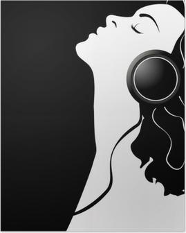 Vektori kuva tyttö hänen kuulokkeilla. Juliste