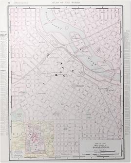Yksityiskohtainen Antiikki Vari Katu Kaupungin Kartta Minneapolis