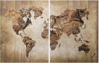 Carte du monde bois, tekstuuri vuosikerta Kaksiosainen