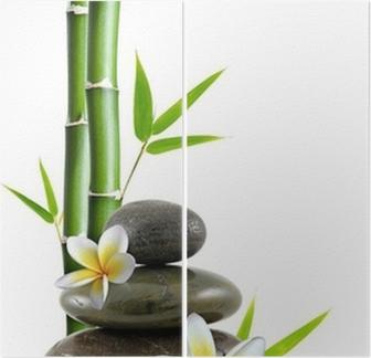 Fleurs de frangipanier, galets zen et bambou Kaksiosainen