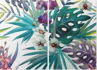 Kuvio orkidea hibiscus lähtee vesiväri tropiikista Kaksiosainen