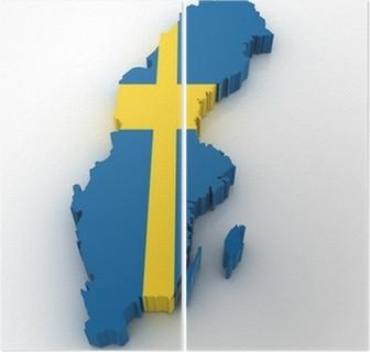 Ruotsin Kartta Kangaskuva Pixers Elamme Muutoksille