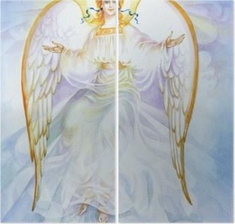 Vesiväri enkeli Kaksiosainen