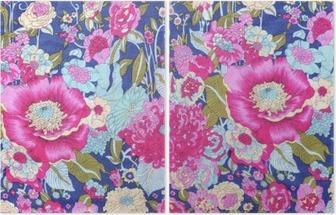 Vintage tyyli kuvakudos kukkia kuviointi tausta Kaksiosainen