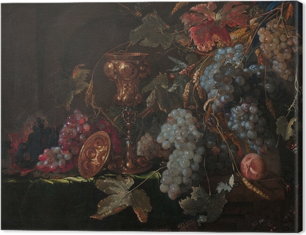 Abraham Mignon - Grape and silverware cup on an entablature Kangaskuva -