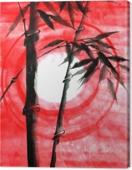 Akvarelli muste japanise bambu auringonlaskun aikaan Kangaskuva