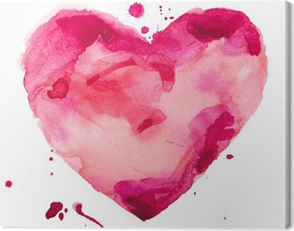 Akvarelli sydän. käsite - rakkaus, suhde, taide, maalaus Kangaskuva - Käsite