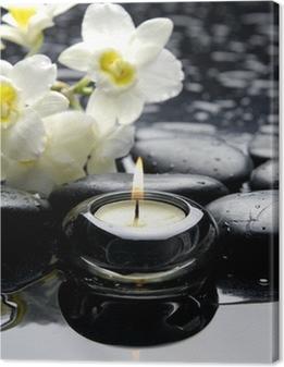 Aromaterapia kynttilä ja zen kivet haara valkoinen orkidea Kangaskuva