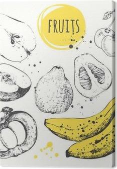 Banaani, mangosteeni, omena, bergamotti. käsin piirretty asetettu tuoretta ruokaa. Kangaskuva