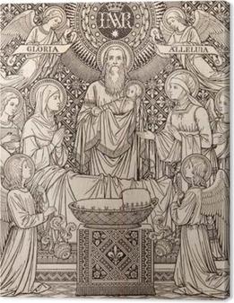 Bratislava, slovakia, marraskuu - 21, 2016: litografian esittely temppelissä tuntemattoman taiteilijan kanssa alkukirjaimet fms (1893) ja painettu typis friderici pustet. Kangaskuva