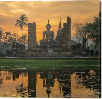 Buddhan patsas wat mahathat temppelissä, sukhothai historiallinen puisto, Kangaskuva