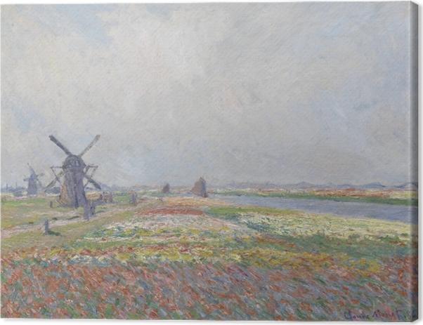 Claude Monet - Tulppaanipeltoja kanssa Rijnsburg tuulimylly Kangaskuva -