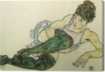 Egon Schiele - Makuuasentoon nainen vihreä Sukkahousut Kangaskuva