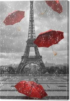 Eiffel-torni, jossa on lentäviä sateenvarjoja. Kangaskuva