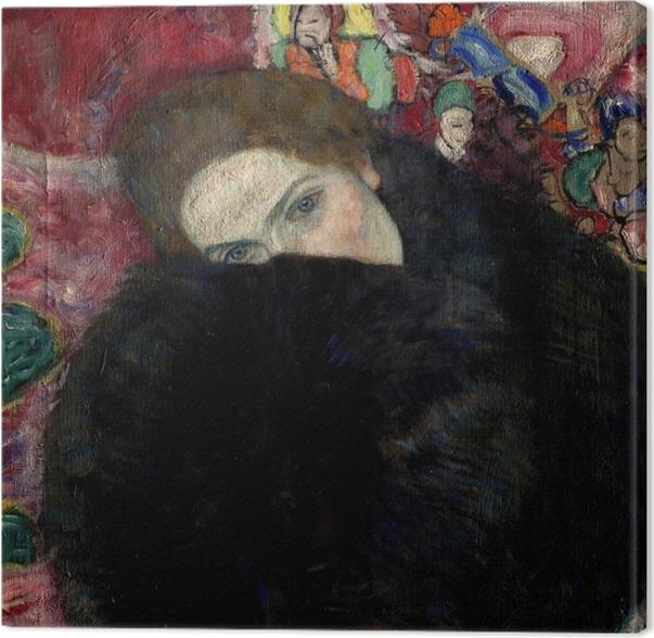 Gustav Klimt - Lady hattu ja sulka Boa Kangaskuva -
