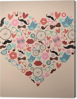 Hipster-doodles asetettu sydämen muotoon Kangaskuva