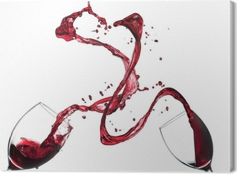 Käsite punaviini roiskumista lasit valkoisella pohjalla Kangaskuva