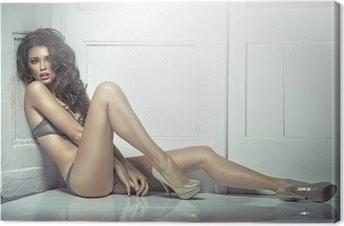 Kaunis houkutteleva nuori nainen seksikkäissä alusvaatteissa Kangaskuva