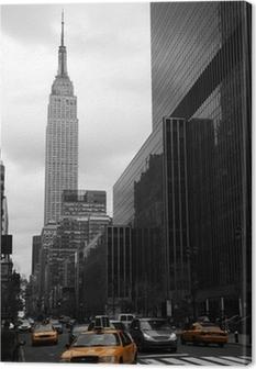 Keltainen taksi 35th kadulla, manhattan, new york Kangaskuva