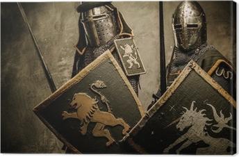 Keskiajan ritarit harmaalla pohjalla. Kangaskuva