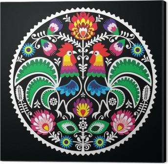 Kiillotus kukka-kirjonta, jossa roosters - perinteinen folk Kangaskuva
