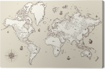 Korkea yksityiskohtainen, vanha maailman kartta koriste-elementtejä Kangaskuva