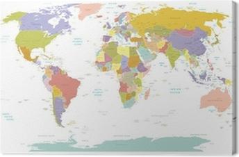 Korkeat yksityiskohtaiset maailmankartat. Kangaskuva