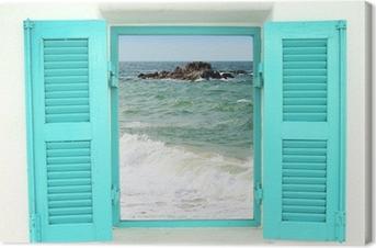 Kreikkalaistyylinen ikkuna merinäköalalla Kangaskuva