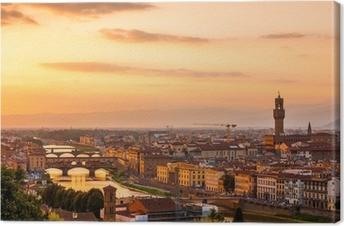 Kultainen auringonlasku yli joen arno, firenze, italia Kangaskuva