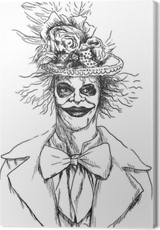 Muotokuva undead (zombie, pelottava pelle ...), käsi piirustus Kangaskuva