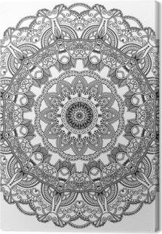 Musta pitsi ympyrä valkoisella pohjalla. koristeellinen mandala Kangaskuva