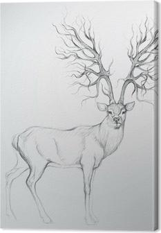Peuroja hirvieläinten kaltaisella puulla / realistisella luonnoksella Kangaskuva