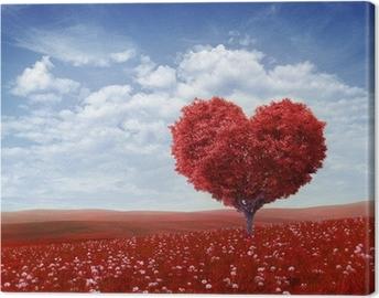 Puu muoto sydämen, ystävänpäivä tausta, Kangaskuva
